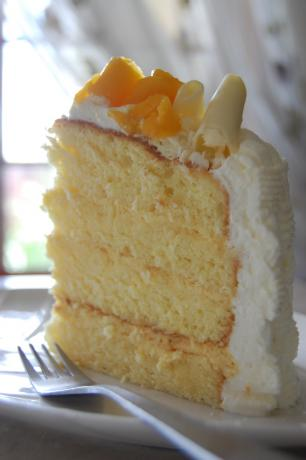 Passion Fruit Chiffon Cake With Passion Fruit Mousse & Cream