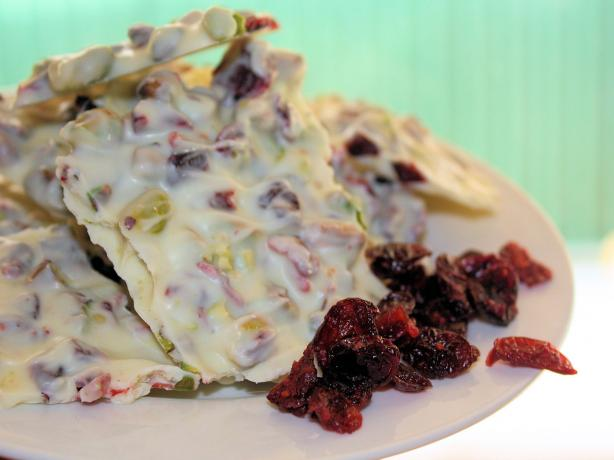 White Chocolate Bark With Pistachios and Dried Cranberries