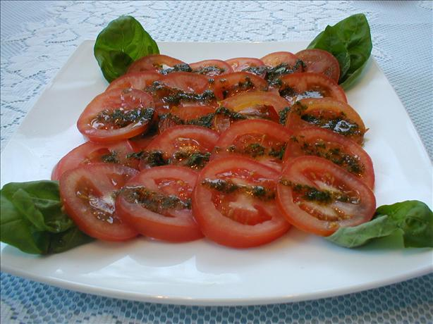Herb Marinated Tomato Salad With Basil