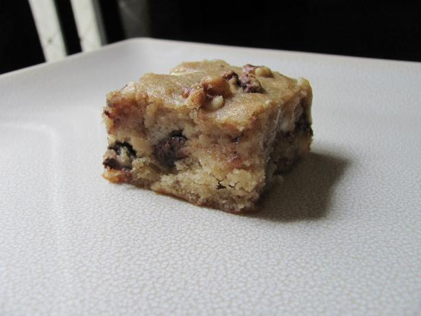 Banana Blondies With Chocolate Chips and Walnuts