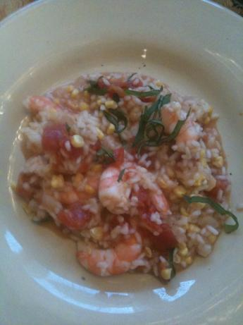 Tomato Corn Risotto With Shrimp