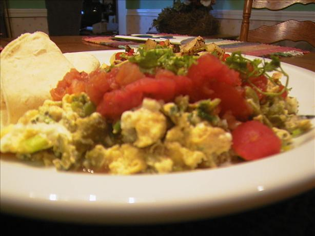 Scrambled Eggs With Poblano Chiles and Cheese