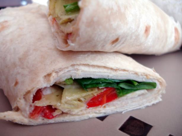 Mediterranean Vegetable and Chicken Sandwich Wrap