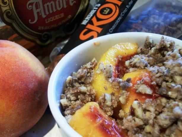 Peach Crisp With Toffee, Pecans & Amaretto