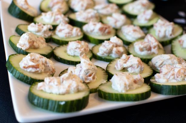 Cucumber Slices With Salmon Mousse