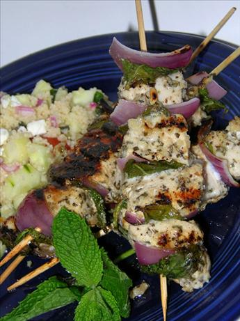 Grilled Chicken, Red Onion, and Mint Kebabs