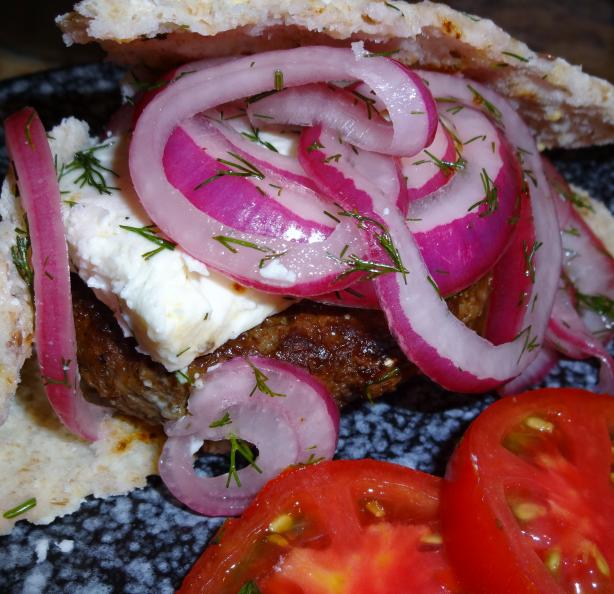 Grilled Lamb Burgers W/ Marinated Red Onions, Dill & Sliced