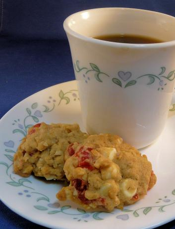 White Chocolate Macadamia Cherry Oatmeal Cookies