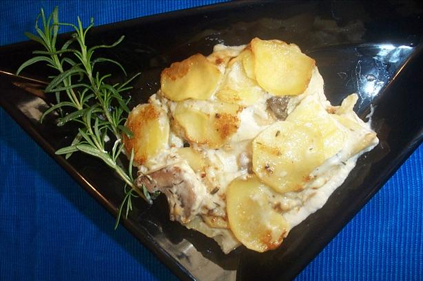 Potato, Blue Cheese and Mushroom Bake