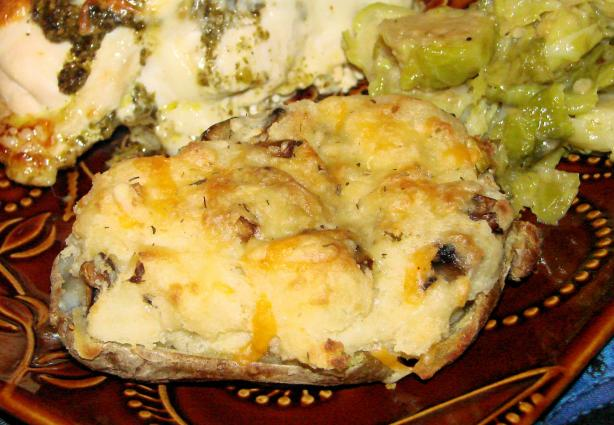 Double-Baked Potatoes With Mushrooms and Cheese