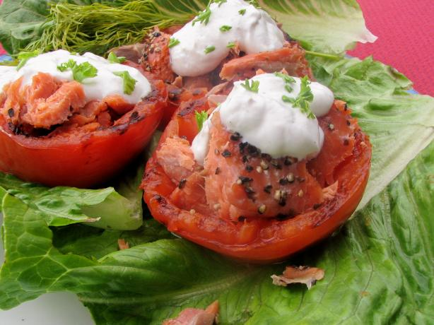Grilled (Broiled) Tomatoes With Smoked Salmon