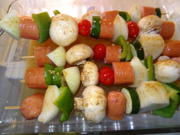 Summer Time Yum - Sausage and Vegetable Kabobs on the Grill