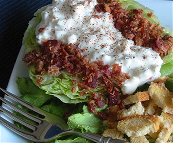 Iceberg Wedge With Warm Bacon & Blue Cheese Dressing
