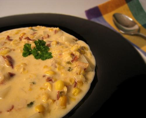 Creamy Corn & Bacon Chowder for Two