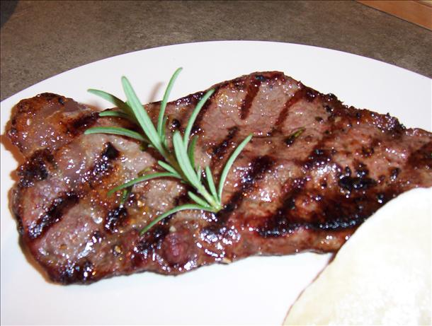 Rosemary-Roasted Garlic Strip Steaks