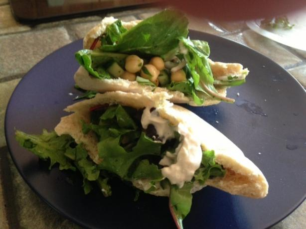 Chickpea Salad on Whole Wheat Pitas