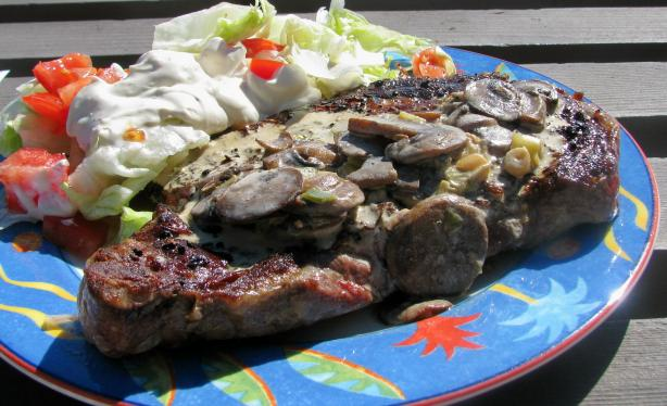 Rib-Eye Steak with Horseradish and Mushroom Cream
