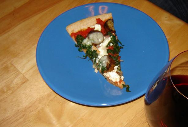 Feta, Spinach and Chicken Sausage Pizza