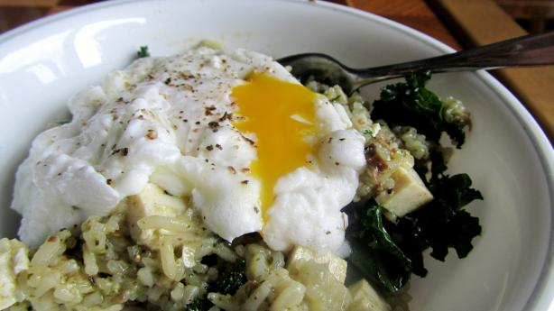 Poached Eggs and Kale over Rice