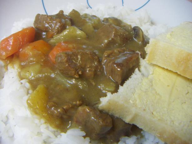 Curry Beef Stew Served over Steamed Rice
