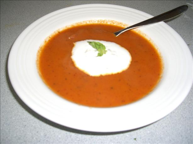 Sweet Onion & Tomato Soup With Fresh Basil Cream