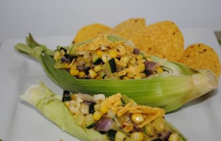 Corn Boats With Zucchini and Pepper Jack Cheese