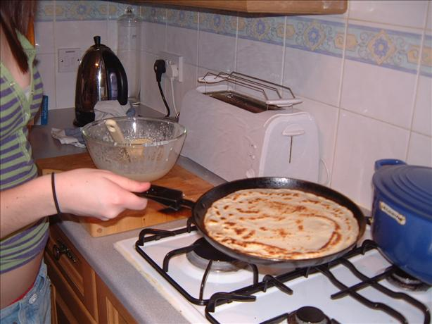 Pouring Batter for Traditional Pancakes
