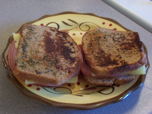 Toasted Ham and Cheese Sandwich With Herb Butter