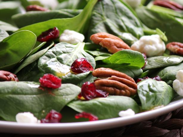 Spinach, Toffee Pecan and Goat Cheese Salad
