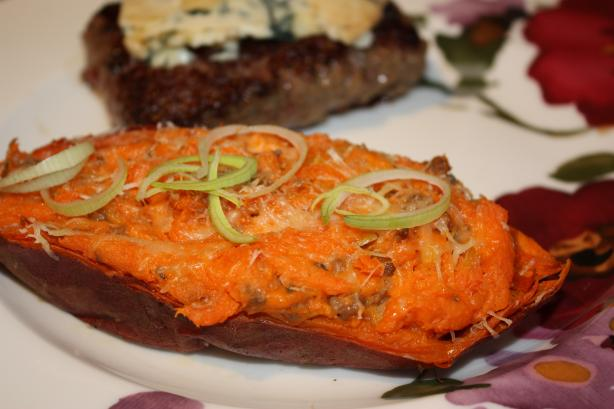 Twice-Baked Sweet Potatoes With Leeks and Sausage