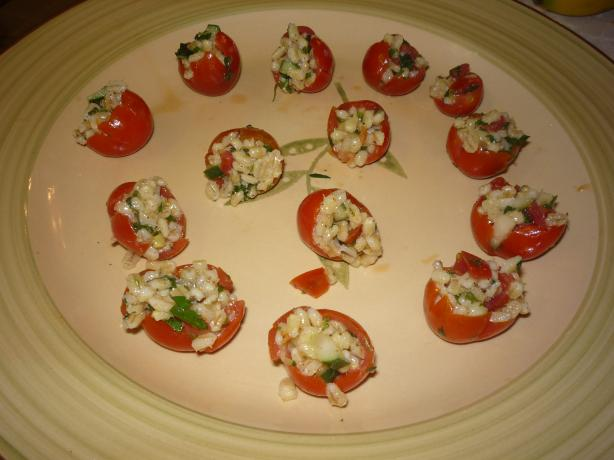 Stuffed Cherry Tomatoes With Minted Barley Cucumber Salad