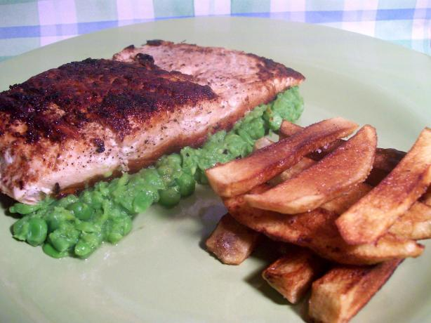 Cajun Blackened Salmon With Pureed Peas and Door Stop Fries