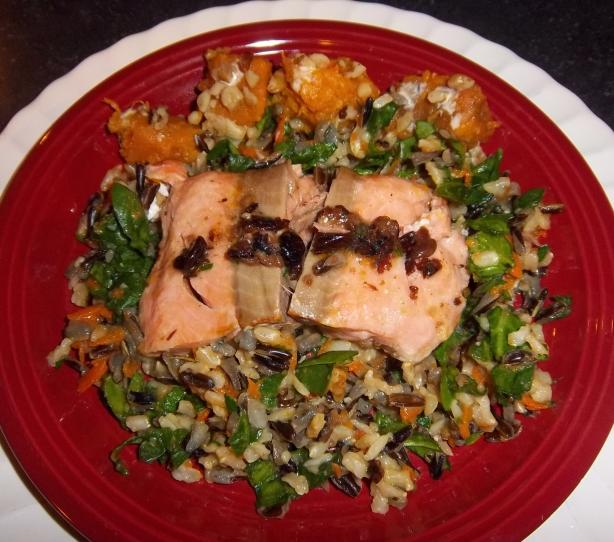 Savory Salmon over Wild Rice Pilaf With a Side of Sweet Potatoes