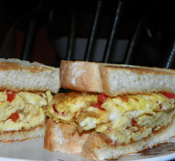 Scrambled Egg Sandwiches (With Onions and Red Peppers)