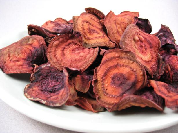 Unfried Crispy Baked Beet Chips (Low Fat)