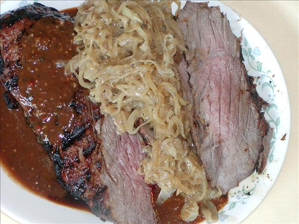 Grilled London Broil With Caramelized Onions