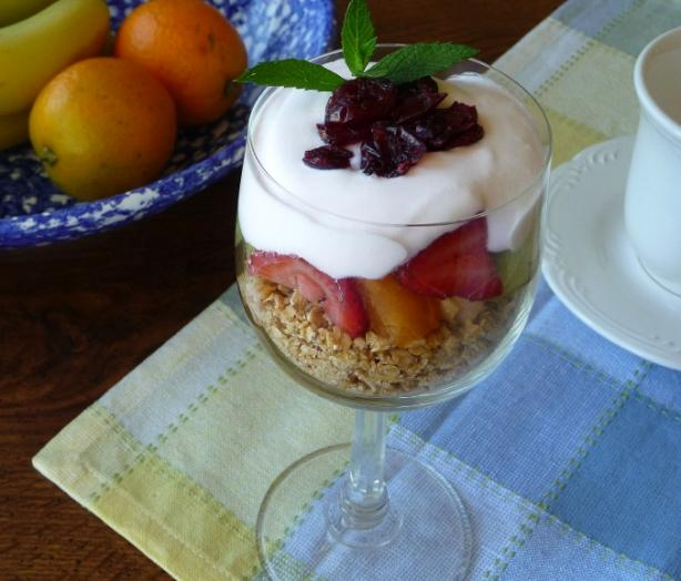 Breakfast Yogurt Parfait With Fresh Fruit and Granola