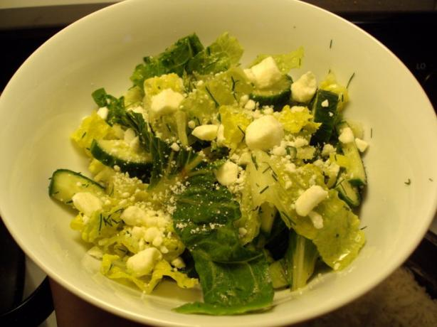 Greek Style Romaine Salad With Lemon and Fresh Dill
