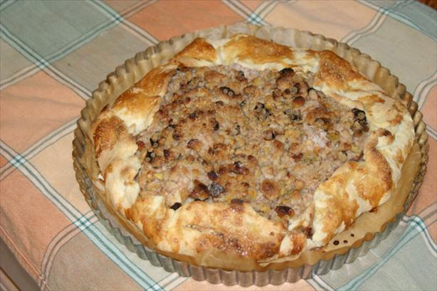 Apple Galette With Walnuts and Raisins and a Streusel Topping