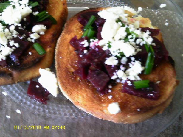 Roasted Beet Relish With Feta on Crostini