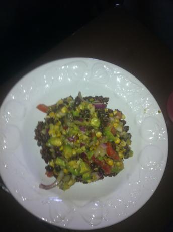 Black Bean, Corn & Avocado Salad over Red Quinoa With Cilant