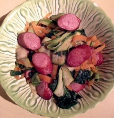 Vegetable Ribbons With Turkey Sausage