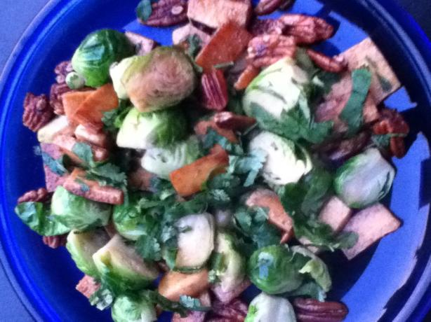 Caramelized Tofu and Brussel Sprouts With Cilantro and Nuts