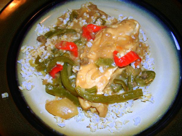 Crock Pot Chicken and Peppers With Gravy over Rice