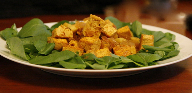 Curried Tofu over Watercress
