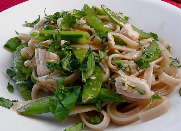Lemon Chicken Fettuccine With Snow Peas