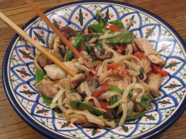 Pork, Choy Sum and Noodle Stir Fry