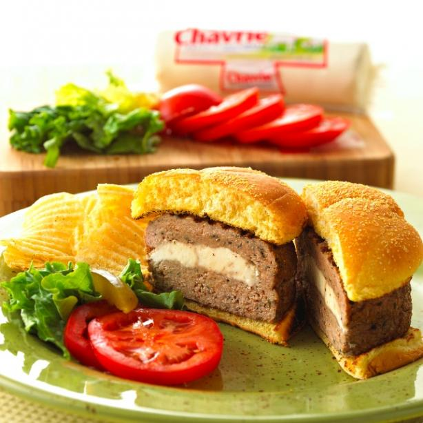Chavrie Stuffed Turkey Burger!