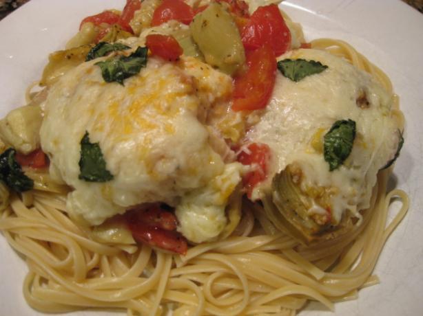 Italian Mozzarella Chicken W/Tomatoes & Artichokes