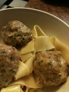 Pork & Apple Meatballs over Egg Noodles